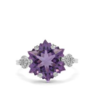 Wobito Snowflake Cut Ametista Amethyst Ring with White Zircon in 9K White Gold 7.30cts