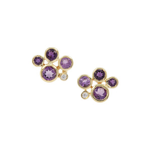 Zambian Amethyst, Rose De France Amethyst Earrings with White Zircon in Gold Plated Sterling Silver 2.52cts