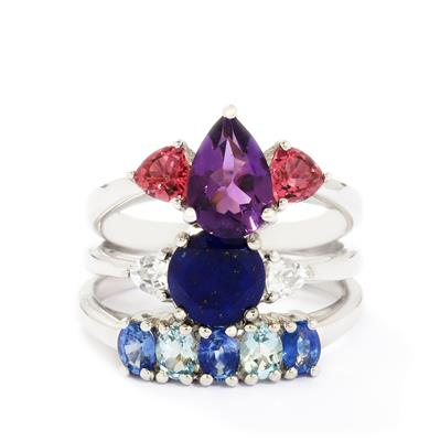 MULTI-GEMSTONES STERLING SILVER SET OF 3 RINGS ATGW 3.97CTS