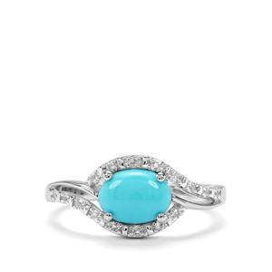 Sleeping Beauty Turquoise & White Topaz Sterling Silver Ring ATGW 1cts