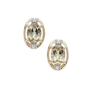 Csarite® Earrings with White Zircon in 9K Gold 1.70cts