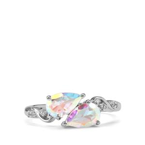 Mercury Mystic Topaz Ring with White Zircon in Sterling Silver 1.97cts