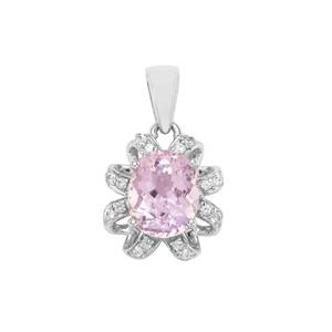 Kolum Kunzite Pendant with White Zircon in Sterling Silver 3.68cts