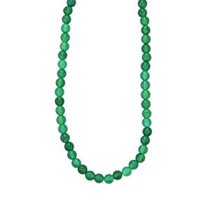 Verde Onyx Bead Necklace in Sterling Silver 100cts