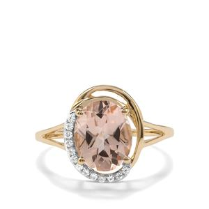 Rose Danburite Ring with White Zircon in 9K Gold 2.55cts