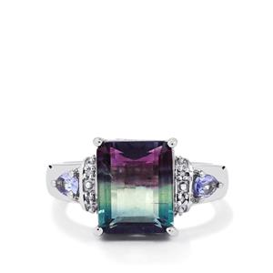 Zebra Fluorite, Tanzanite Ring with Diamond in Sterling Silver 6.10cts