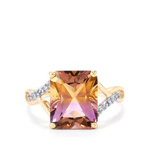 Anahi Ametrine Ring with White Zircon in 9K Gold 4.23cts