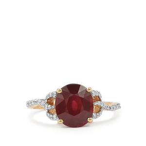 Malawi Garnet Ring with Diamond in 18K Gold 3.37cts