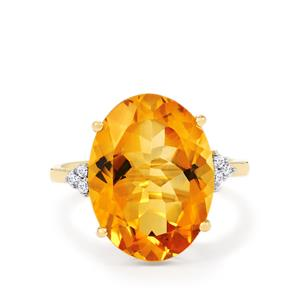 Rio Golden Citrine Ring with White Zircon in 9K Gold 8.81cts