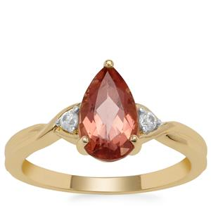 Rosé Apatite Ring with White Zircon in 9K Gold 1.90cts