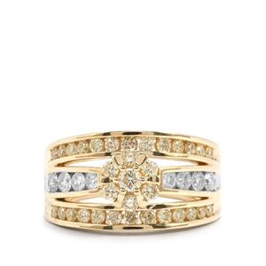 Yellow Diamond Ring with White Diamond in 9K Gold 1.25cts