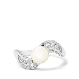 Akoya Cultured Pearl Ring with White Topaz in Sterling Silver