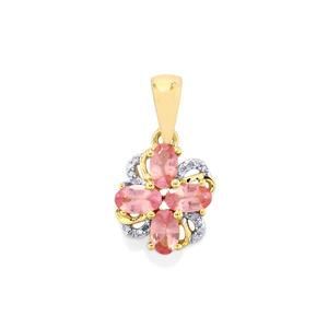 Pink Spinel & Diamond 9K Gold Pendant ATGW 1.05cts
