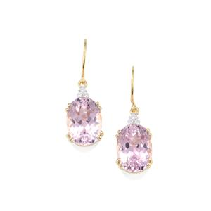 Mawi Kunzite Earrings with Diamond in 18K Gold 17.41cts