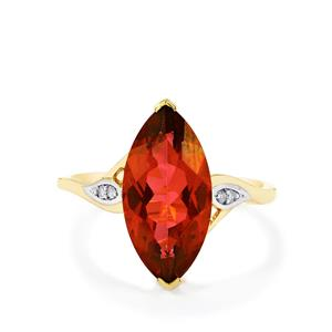 Cruzeiro Topaz Ring with Diamond in 9K Gold 4.90cts