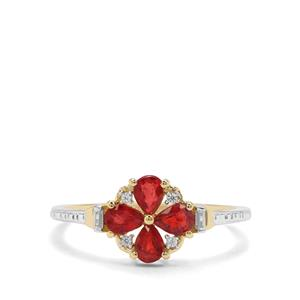 Songea Ruby & White Zircon 9K Gold Ring ATGW 0.87ct