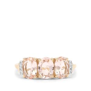 Cherry Blossom™ Morganite Ring with White Zircon in 9K Gold 2cts