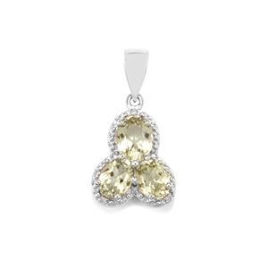 Sillimanite Pendant with Diamond in Sterling Silver 3.80cts