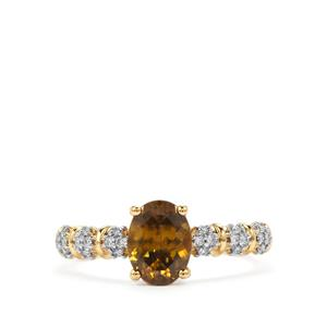 Morafeno Sphene Ring with Diamond in 18k Gold 1.63cts