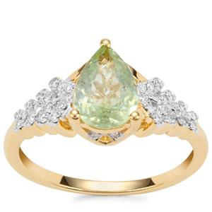 Paraiba Tourmaline Ring with Diamond in 18K Gold 1.19cts