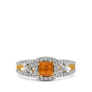Mandarin Garnet & White Zircon 9K Gold Ring ATGW 1.25cts