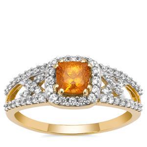 Mandarin Garnet Ring with White Zircon in 9K Gold 1.25cts