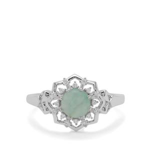 Gem Jelly Aquaprase™ & White Zircon Sterling Silver Ring ATGW 1cts