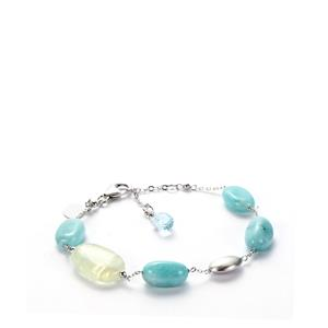 Amazonite  Bracelet with Green Prehnite, Sky Blue Topaz in Sterling Silver Sarah Bennett 29.67cts