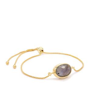 Labradorite Slider Bracelet in Gold Plated Sterling Silver 5.25cts