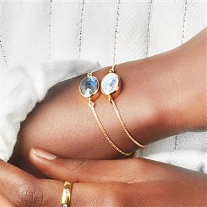 Labradorite Slider Bracelet in Gold Plated Sterling Silver 5.25cts