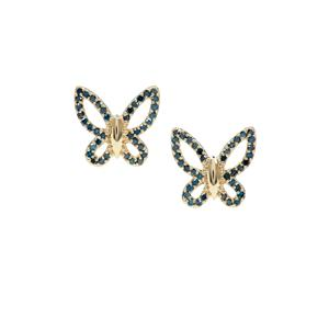3/4ct Blue Diamond 9K Gold Butterfly Design Earrings