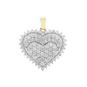 GH Diamond Pendant in 9K Gold 1cts