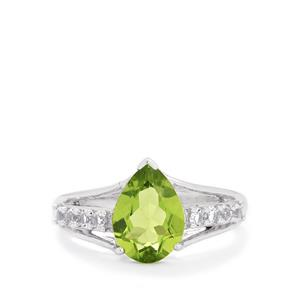 Changbai Peridot & White Topaz Sterling Silver Ring ATGW 2.68cts