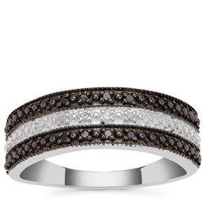 Black Diamond Ring with White Diamond in Sterling Silver 0.06ct