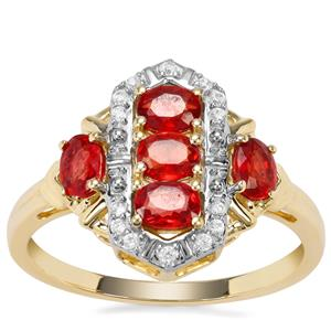 Songea Ruby Ring with White Zircon in 9K Gold 1.27cts