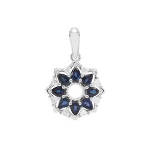 Australian Blue Sapphire Pendant with White Zircon in Sterling Silver 1.57cts