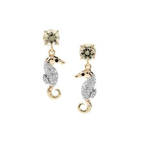Csarite®, Black Spinel Sea Horse Earrings with White Zircon in 9K Gold 2.21cts