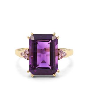 Zambian Amethyst Ring with Pink Sapphire in 9k Gold 7.93cts