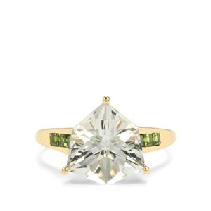 Alpine Cut Prasiolite & Chrome Diopside 9K Gold Ring ATGW 4.74cts