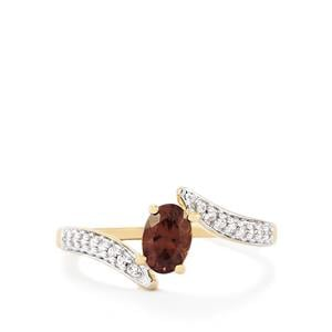 Color Change Garnet Ring with White Zircon in 10k Gold 0.79ct