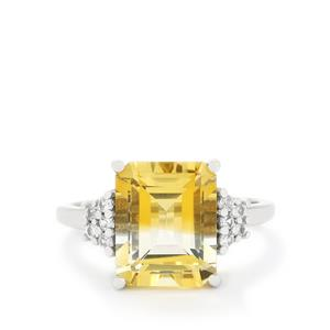 Bi-Colour Citrine & White Zircon 9K White Gold Ring ATGW 4.55cts