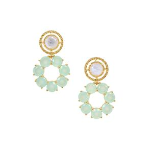 Rainbow Moonstone Earrings with Aqua Chalcedony in Gold Plated Sterling Silver 13.35cts