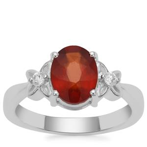 Gooseberry Grossular Garnet Ring with White Zircon in Sterling Silver 2.26cts