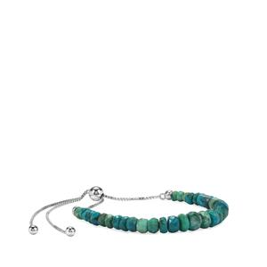 Chrysocolla Slider Graduated Bead Bracelet in Sterling Silver 15.50cts
