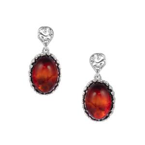 Baltic Cherry Amber Sterling Silver Earrings (16 x 12mm)