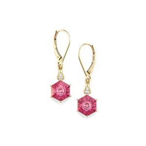 Lehrer QuasarCut Pink Topaz Earrings with Diamond in 10K Gold 4.12cts