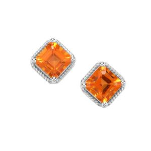 Asscher Cut Padparadscha Quartz Earrings in Sterling Silver 2.22cts