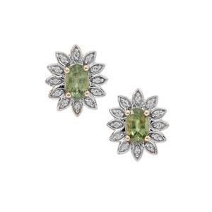 Green Dragon Demantoid Garnet & White Zircon 9K Gold Earrings ATGW 1.40cts