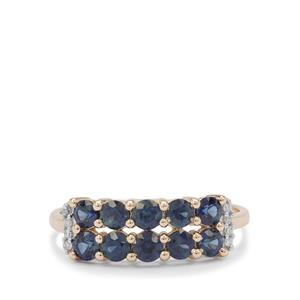 Australian Blue Sapphire Ring with Diamond in 9K Gold 1.25cts