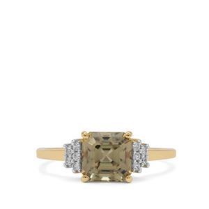 Asscher Cut Csarite® & White Zircon 9K Gold Ring ATGW 2.15cts